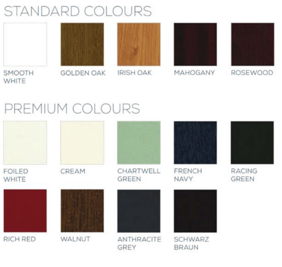 a list of colours for upvc doors