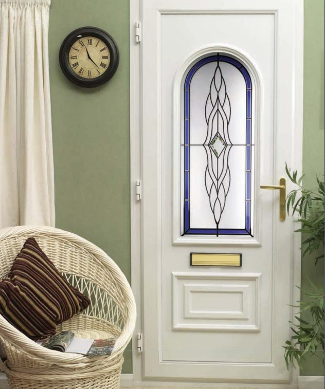 a white impression upvc door with a blue glazing