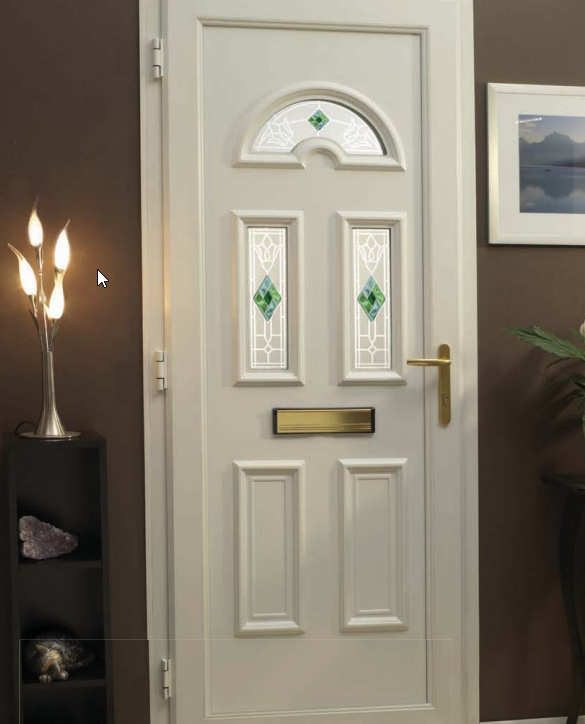 a white impression front door